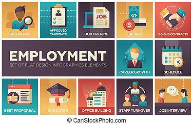 empleo, -, conjunto, de, plano, diseño, infographics, elementos