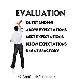 employé, évaluation, formulaire, à, homme affaires, choix,...