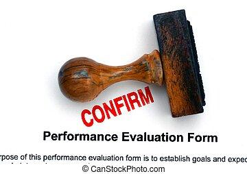 employé, évaluation, formulaire, confirmer
