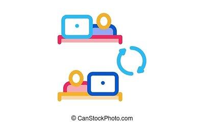 employé, animation, connexion, icône, internet