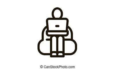 employé, animation, ordinateur portable, fonctionnement, icône