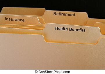 employé, avantages, dossiers, assurance maladie, etc