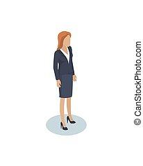 employé, bureau, caractère, femmes affaires, femme