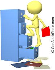 employé bureau, fichiers, dossier, dans, 3d, classeur