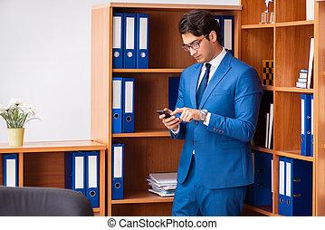 employé, bureau, fonctionnement, jeune