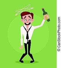 employé bureau, heureux, vecteur, ivre, dessin animé, plat, ...