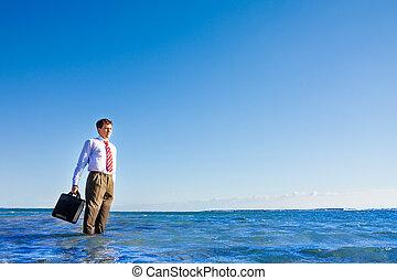 employé bureau, jeune, stand, mer, col blanc
