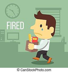 employé bureau, mis feu