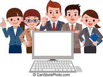 employé bureau, pc, regarde, rassemble