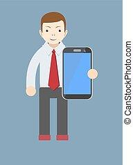 employé bureau, projection, a, vide, intelligent, téléphone, écran