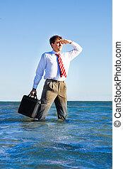 employé bureau, regarder, mer, nouveau, perspectives