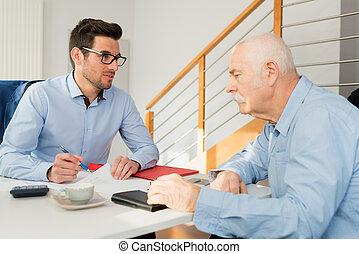 employé, business, junior, discuter, sien, personne agee, projet, homme