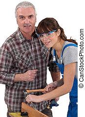 employé, charpentier, femme, jeune