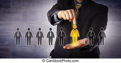 employé, choix, recruteur, seulement, femme