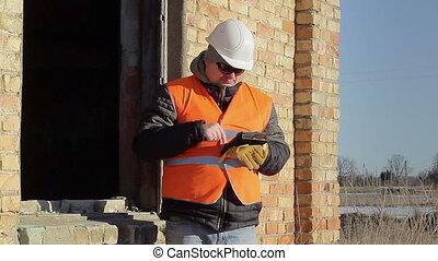 employé, construction, tablette