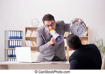 employé, cris, fâché, sien, patron