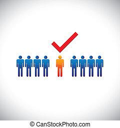 employé, graphique, droit, selecting(hiring), illustration-, employable, candidate., illustration, marque, personne, métier, ouvrier, suitable, spectacles, check(tick)