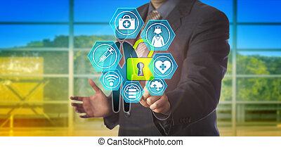 employé, homme affaires, données, ouvrir, healthcare