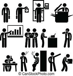 employé, homme affaires, travail, business