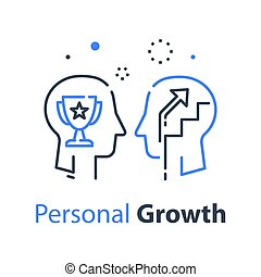 employé, mois, concept, humain, croissance, tête, motivation, direction, profil, formation