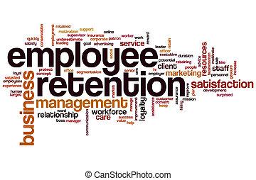 employé, mot, nuage, rétention