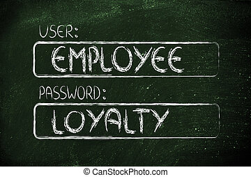 employé, mot passe, loyauté, utilisateur