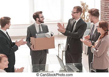 employé, nouveau, équipe, business, accueils