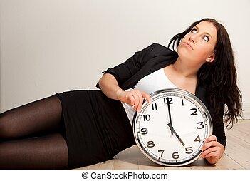 employé, percé, horloge