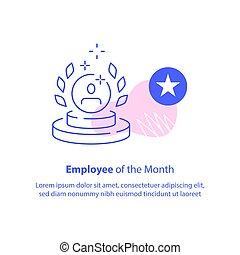 employé, performance, récompense, trophée, mieux, programme, ouvrier, récompense, concept, mois