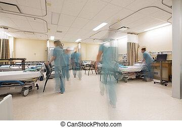 employé poteau, soin, unité, dans, hôpital