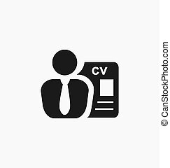 employé, recrutement, icon., headhunting, signe.