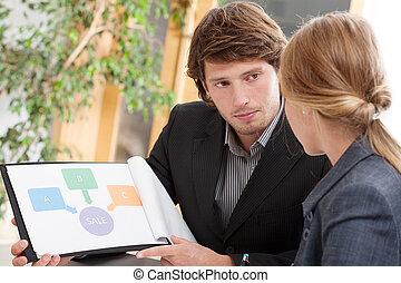 employé, sien, idée, présentation, patron