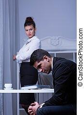 employé, sien, patron, désespoir