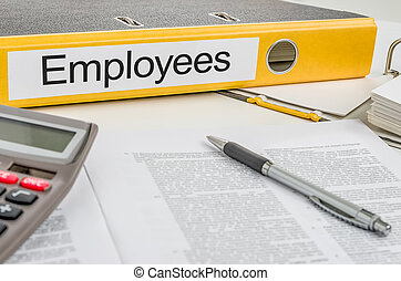 employés, dossier, étiquette