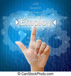 Employ, Business concept in word for Human resources
