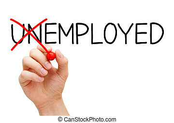 Employed Not Unemployed - Find a new job. Hand turning the...