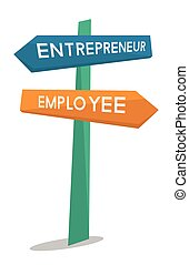 Employee and entrepreneur road sign.