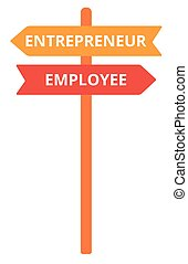 Employee and entrepreneur road sign