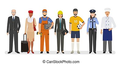 Employee and workers characters standing together. Group of seven people with different occupation.