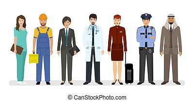 Employee and workers characters standing together with doctor, policeman and nurse. Group of seven people