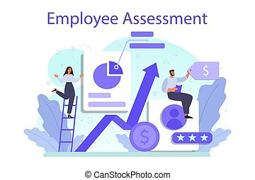 Employee assessment concept. Employee evaluation, testing form