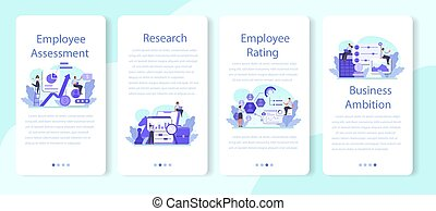 Employee assessment mobile application banner set. Employee evaluation, testing