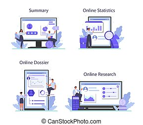 Employee assessment online service or platform set. Employee evaluation