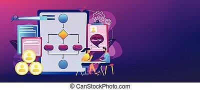 Employee assessment software concept banner header. - HR...