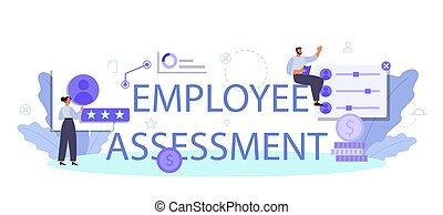 Employee assessment typographic header. Employee evaluation, testing form
