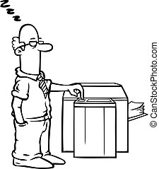 Employee at the copy machine - Black and white employee...
