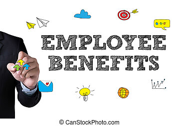 EMPLOYEE BENEFITS and Businessman drawing Landing Page on...