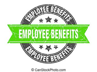 employee benefits round stamp with ribbon. label sign