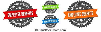 employee benefits sign. round ribbon label set. Seal