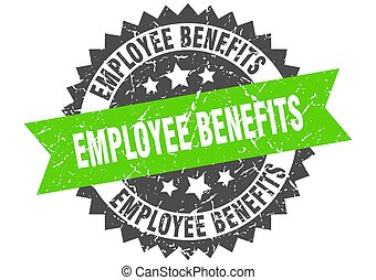 employee benefits stamp. grunge round sign with ribbon